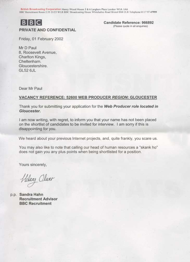 How to reject candidates without turning them off your brand tpp a famous rejection letter allegedly from the bbc spiritdancerdesigns Choice Image