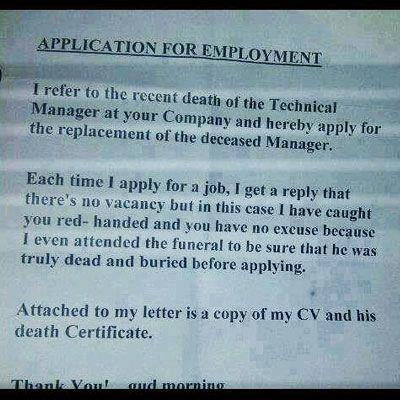 Funniest Job Cover Letter Ever Theemployable