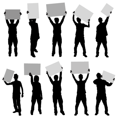 Silhouette-Gang-Holding-Blank-Signs-psd18931